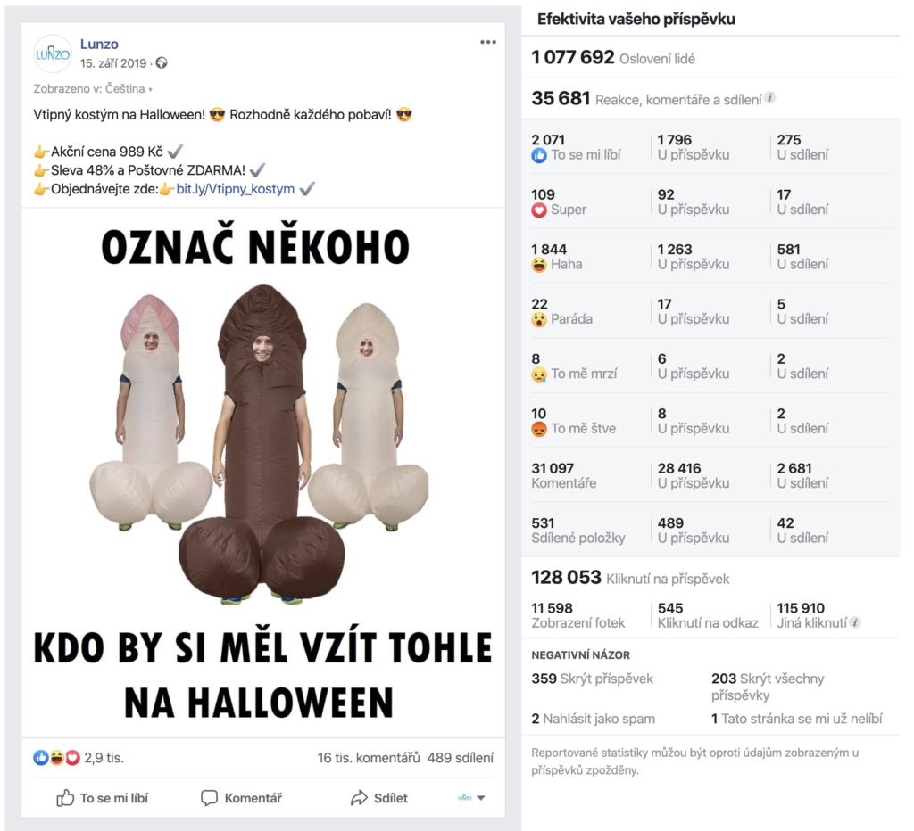 Facebook úspěšný příspěvek Lunzo